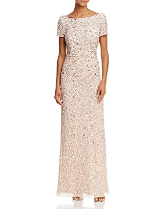 e60c6732 Adrianna Papell Women's Sleevless Cowl Back Beaded Long Gown (Blush, ...