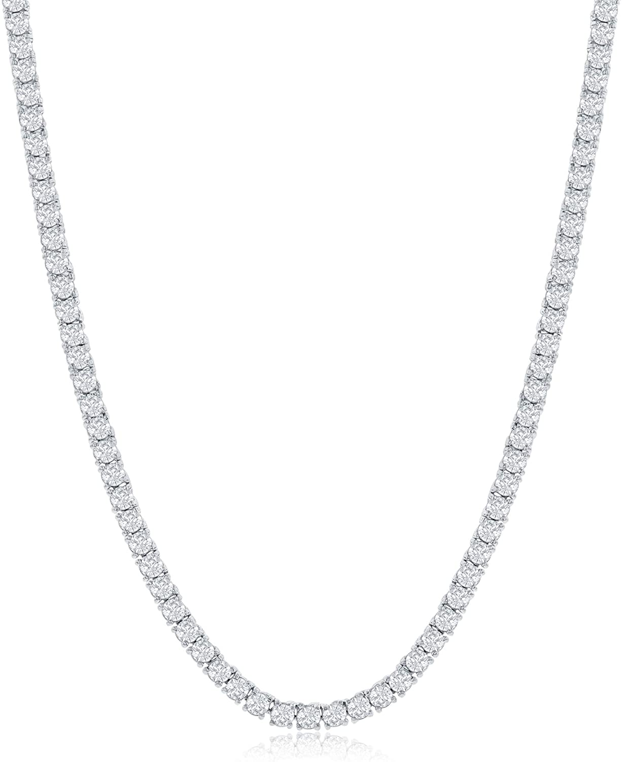 NYC Sterling Women's Magnificent 3mm Round Cubic Zirconia Tennis Necklace