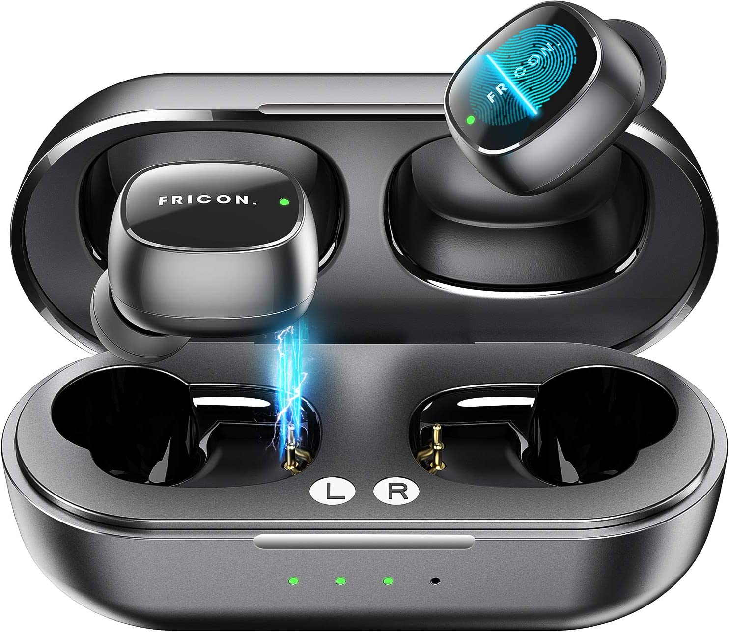Amazon.com: Wireless Earbuds,5.0 Touch Control Bluetooth Headphones with  Charging Case,HD Stereo True Wireless Sport in-Earphones Builtin Mic/ 5  Hours Playtime Black: Home Audio & Theater