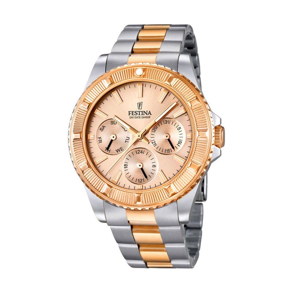 Festina Vendome F16692/2 - Reloj analógico de cuarzo para mujer, correa de acero inoxidable chapado (agujas luminiscentes): Festina: Amazon.es: Relojes