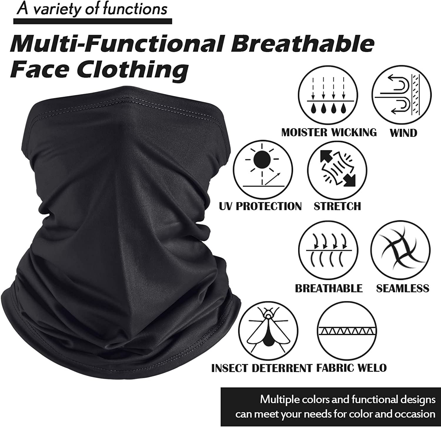 UV Protection Face Covers Summer Face Cover Gaiter Dust-Proof Breathable Bandana Black, Royal Blue, Pink, 6