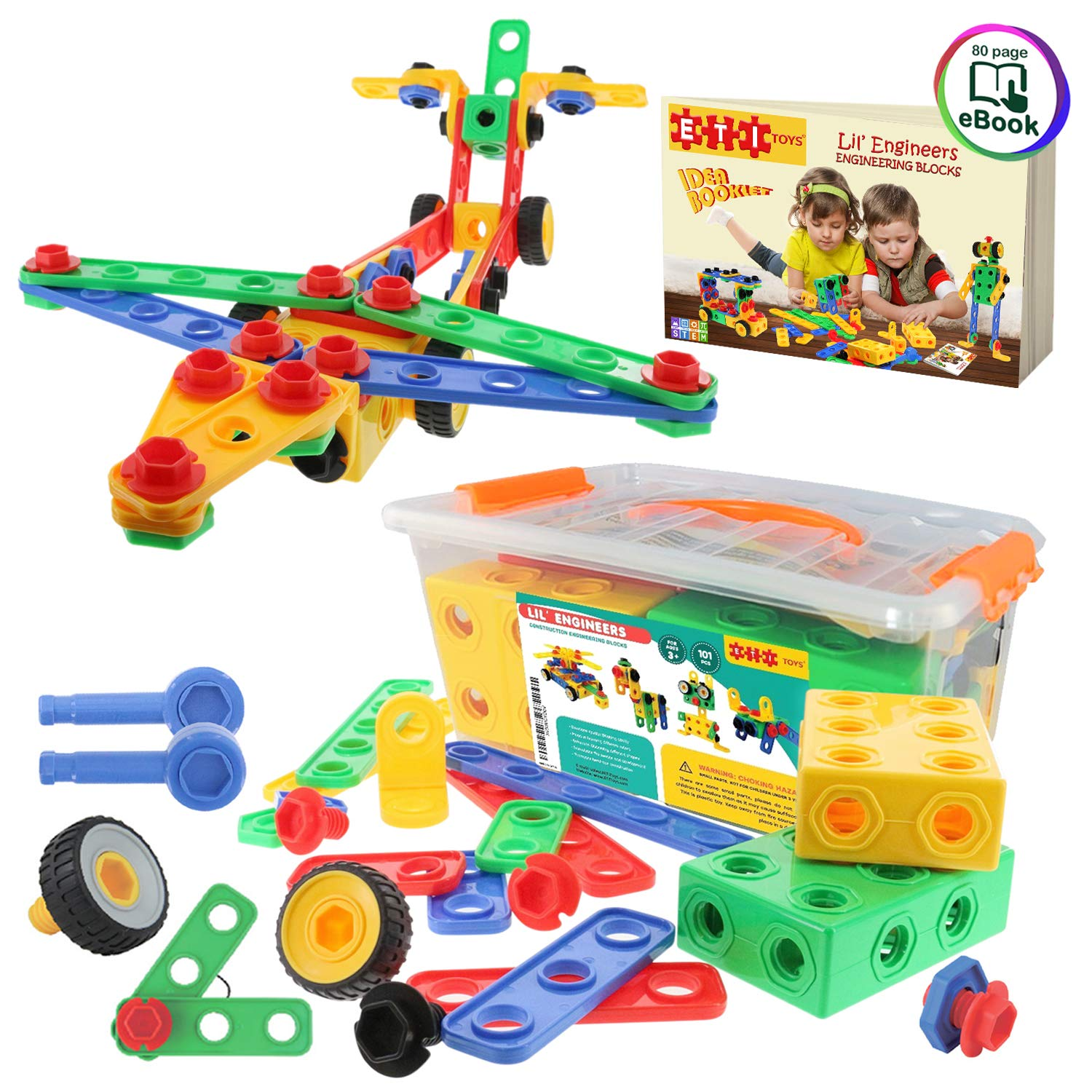 101 Piece STEM Toys KitEducational Construction Engineering Building Block...
