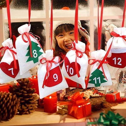 Amazon Com Loneflash Christmas Decor 24pcs Christmas Countdown Calendar 24 Days Countdown Calendars Candy Bags Home Kitchen
