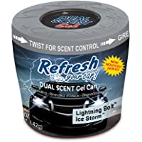 Refresh Your Car! E301460100 Dual Scent Gel Can, 5 oz, Midnight Black/Ice Storm Scent
