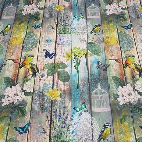 Se vende por metros de tela de algodón con diseño de pájaro y flores con diseño