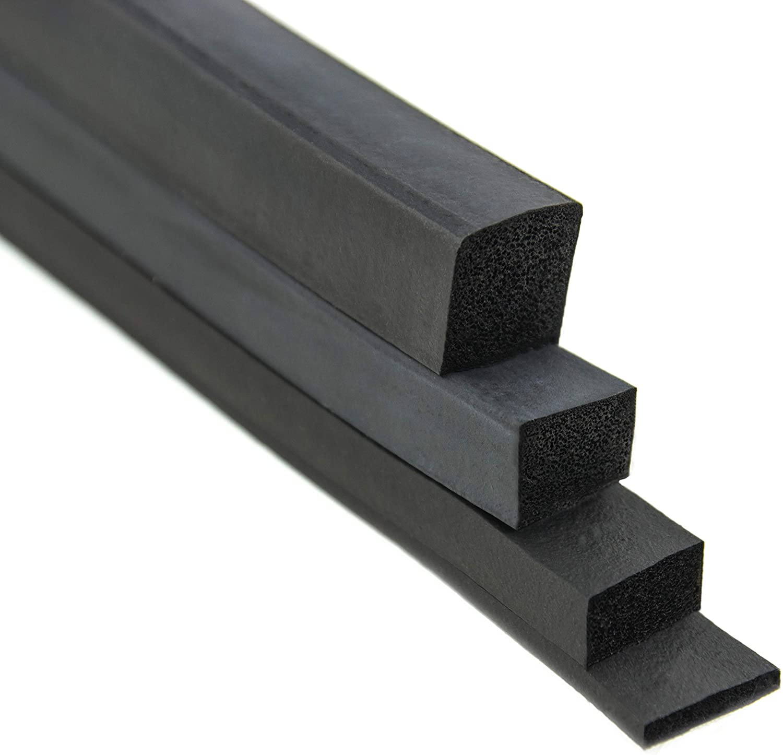 VKP10x15 Vierkantprofil von SMI-Kantenschutzprofi in Schwarz aus EPDM Moosgummi 0,1 m Moosgummidichtung Ma/ße: 10x15 mm
