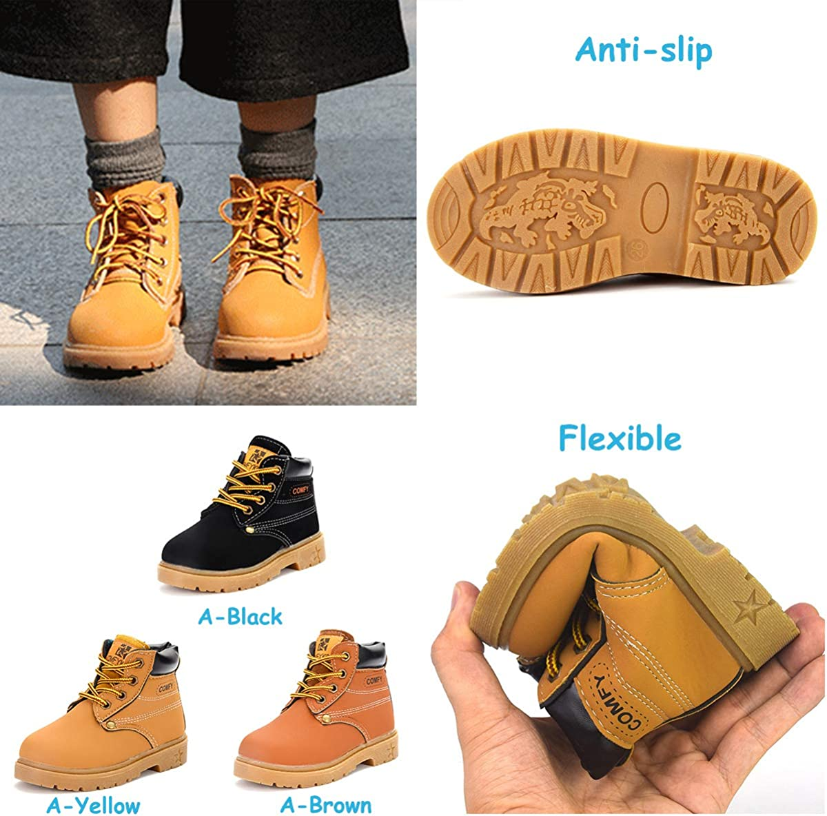BEBARFER Toddler Kids Boys Girls Boots Waterproof Ankle Martin Hiking Boots Anti-Slip Rubber Sole Outdoor Shoes Toddler//Little Kid