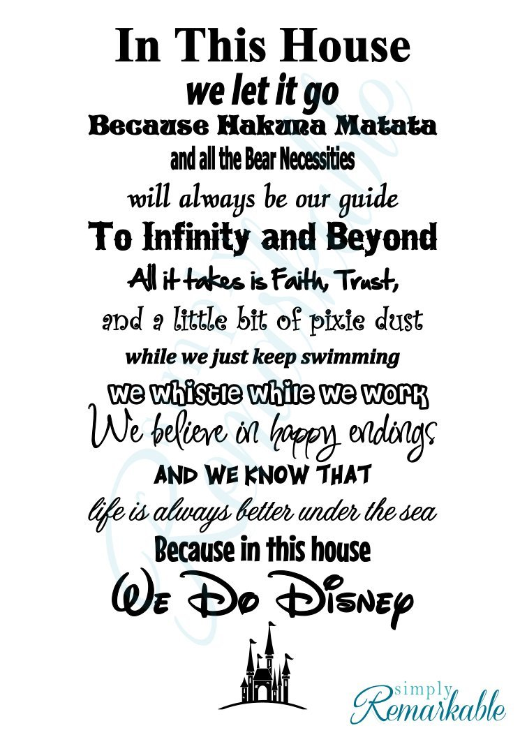 "In This House We Do Disney - Vinyl Wall Decal Sticker - Made in USA - Disney Family House Rules (11"" x 22""), Black)"
