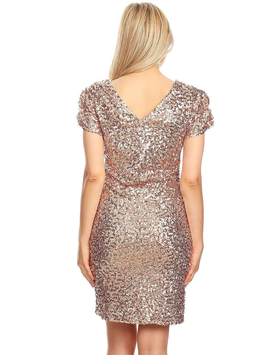 Anna-Kaci Sexy Short Sleeve Sequin Bodycon Mini Cocktail Party Club Dress: Amazon.co.uk: Clothing