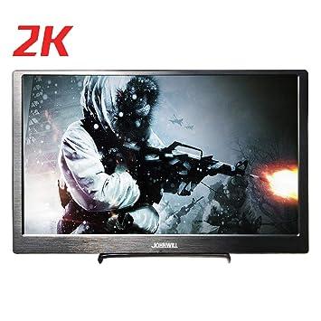 JOHNWILL Monitor portátil 13.3 Pulgadas IPS Pantalla Full HD 2560 * 1440 Monitor Ultra Delgado Carcasa de Metal Negro