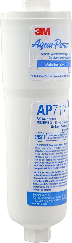 3M Aqua-Pure AP717 5 Micron Inline Carbon Water Filter 1//4 NPT