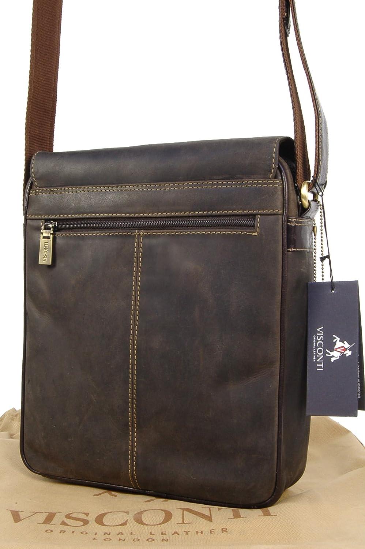 c6ac811882 Visconti Sac Gibecière de travail en cuir signé (16011) Link - Notepad/ Kindle/i-Pad - Marron Foncé: Amazon.fr: Chaussures et Sacs