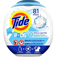 Tide PODS Free & Gentle, Liquid Laundry Detergent Pacs, 81 count,packaging may vary