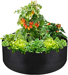"IWNTWY 50 Gallon Large Grow Bag, Heavy Duty Fabric Round Raised Garden Bed Planter Pots for Planting Herb Flower Vegetable Potato Plants (36"" D x 12"" H, Black)"