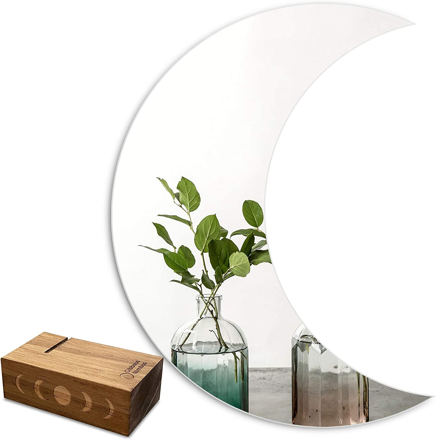 Gibbous Nimbus Crescent Moon Mirror with Moon Phase Wooden Base, Real Glass Mirror Wall Decor, Chic Boho Home Decor Witchy Decor Apartment Crystal Nursery Decorative Mirror