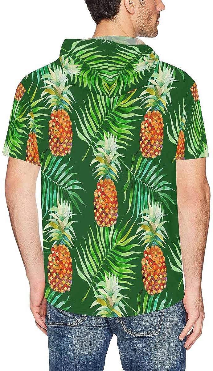 XS-2XL INTERESTPRINT Mens Short Sleeve Hoodies Pullover Pineapples Green Lightweight Drawstring Shirts