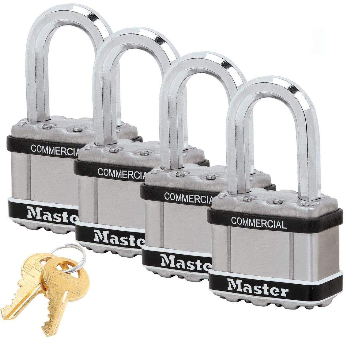 Master Lock Magnum Padlocks - 2'' W x 1-1/2''L Shackle, Four (4) Keyed Alike Locks #M5NKALFSTS-4 w/BumpStop Technology