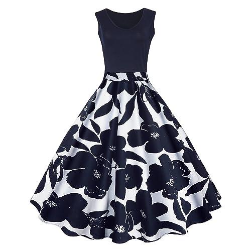 BIUBIU Womens Vintage 1950s Sleeveless Floral Dress High Waist Retro Swing Dress UK ...