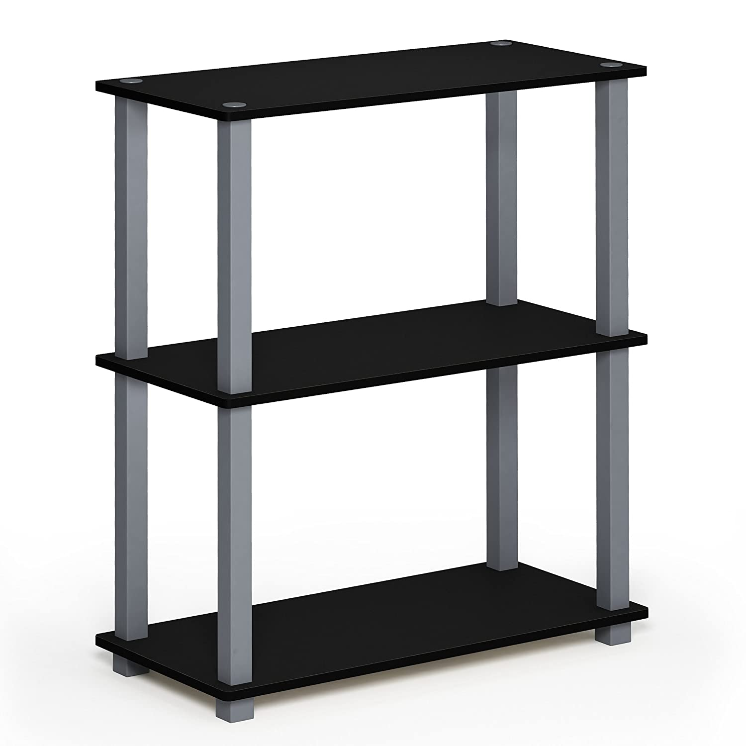 Black Grey 3-Tier Square Tubes Furinno 17091BE WH Turn-N-Tube 5-Tier Compact Multipurpose Shelf, Single, Beech White