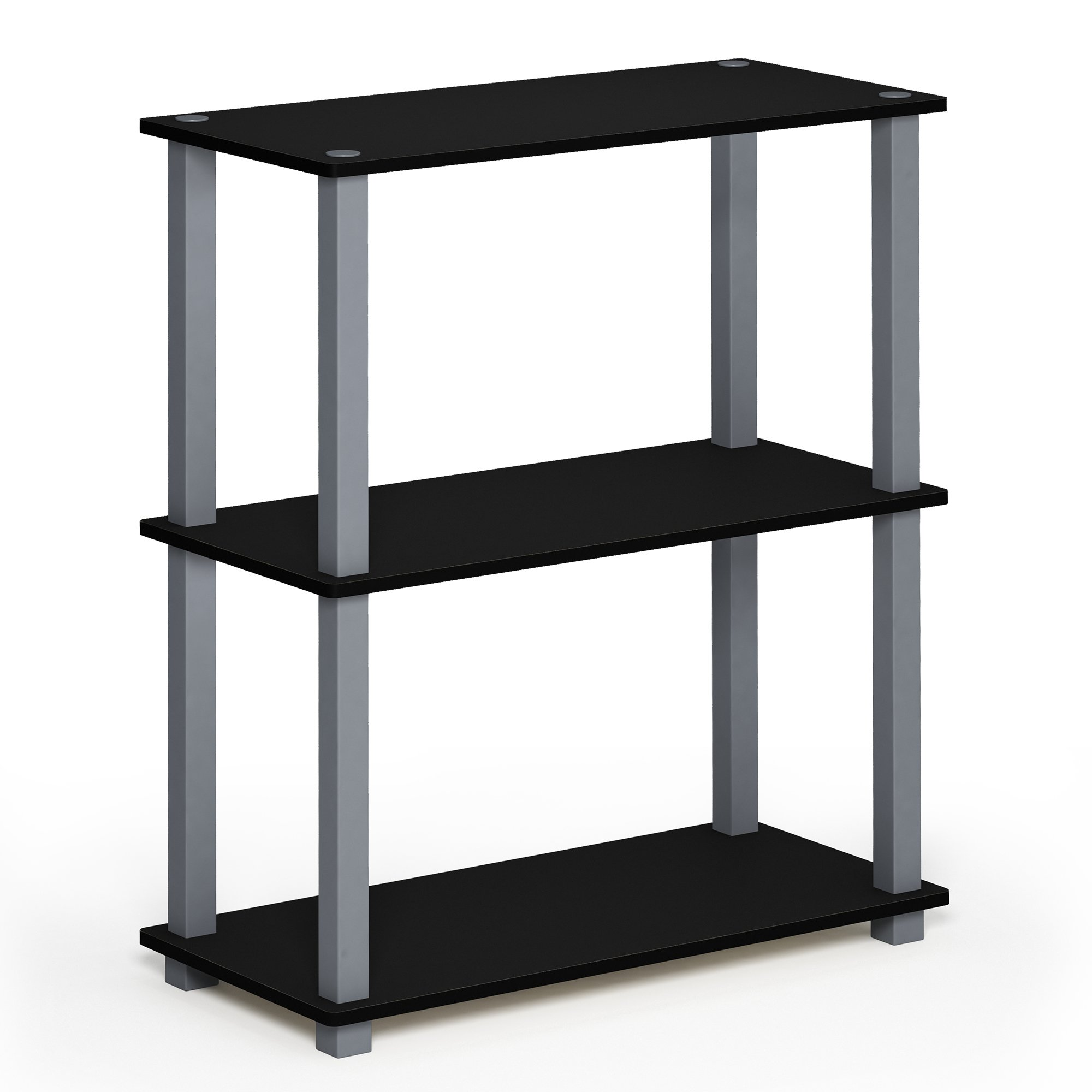Furinno 18025BK/GY Turn-S-Tube 3 Compact Multipurpose Shelf with Square, 3-Tier, Black/Grey Square Tube