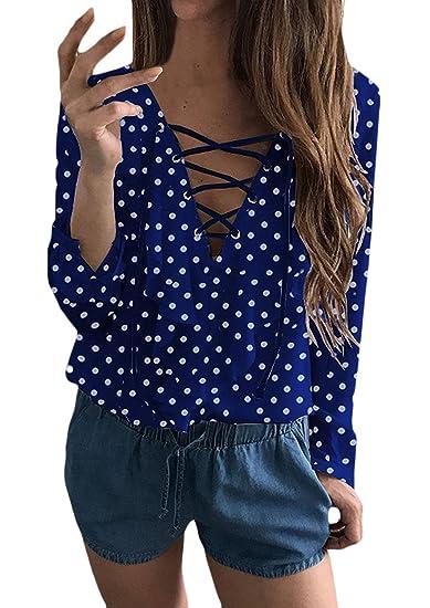 Blusas De Mujer Elegante Primavera Otoño Lunares Manga Larga V Cuello Camisa con Cordones Anchas Casuales
