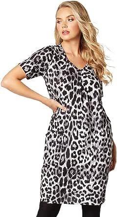 Roman Originals Vestido de mujer con estampado de animales, cuello redondo, longitud hasta la rodilla, manga corta, vestido de fiesta, vestido de noche
