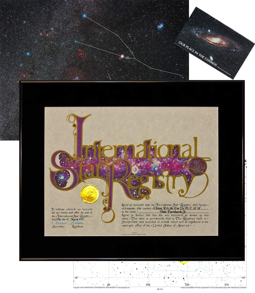 Star Registry Name A Star Black Deluxe Star Kit with Photographic Sky Image