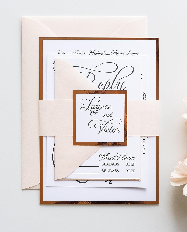 Amazon Com Custom Foil Wedding Invitation Card Set Bling