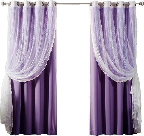 Reviewed: Best Home Fashion Mix Match Dotted Tulle Lace Solid Blackout 4 Piece Curtain Set Antique Bronze Grommet Top Purple 52″ W x 96″ L Set of 4 Panels