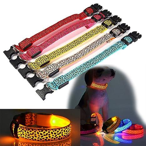 Perro Glow intermitente LED cuello diseño de piel de leopardo ...
