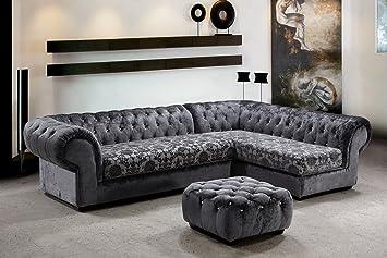 Metropolitan Microfiber Grey Fabric Sectional Sofa U0026 Ottoman