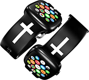 FaithSign 38-40 mm Apple Watch Compatible Band with Bible Verse - Christian Cross Religious Print - Smart Watch Wristband for Men, Women - Breathable Strap for Fitness, Sport, Casual Wear - Black