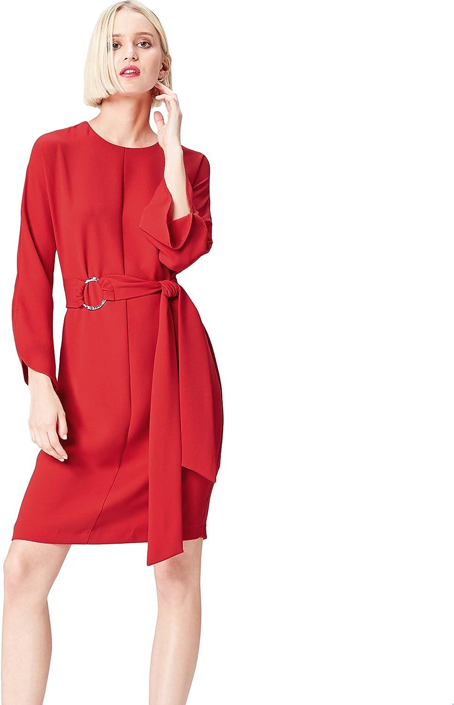 TALLA 38 (Talla del Fabricante: Small). Marca Amazon - find. Vestido con Cinturón a Media Pierna para Mujer Rojo (Sports Red) 38 (Talla del fabricante: Small)
