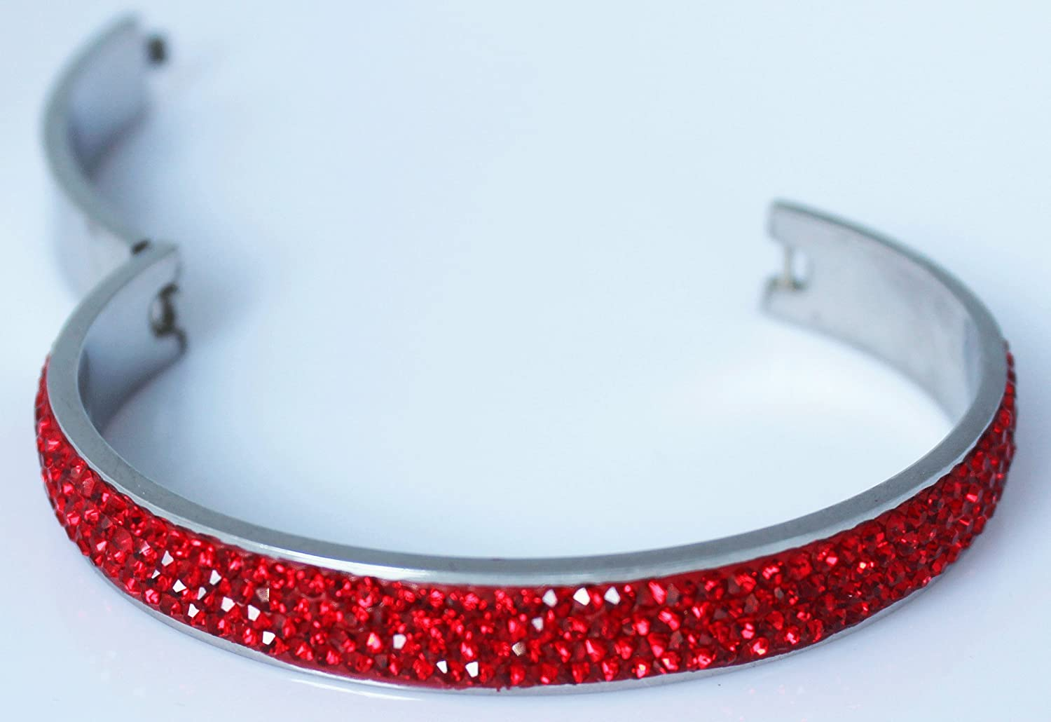 with 4 Rows of Beautiful Sparkly Crystal Rhinestones Sophistikitty Hinged Bangle 10mm in Width