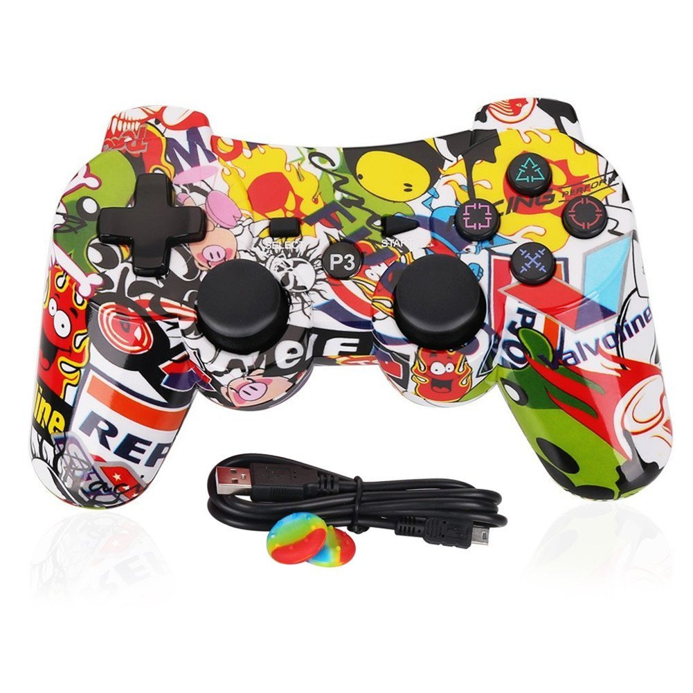 PS3 Controller Wireless Dualshock3 - OUBANG PS3 Remote,Best DS3 Joystick Gift Kids Bluetooth Gaming Sixaxis Control Gamepad Game Accessories PlayStation3 Micro Cable (Graffiti)