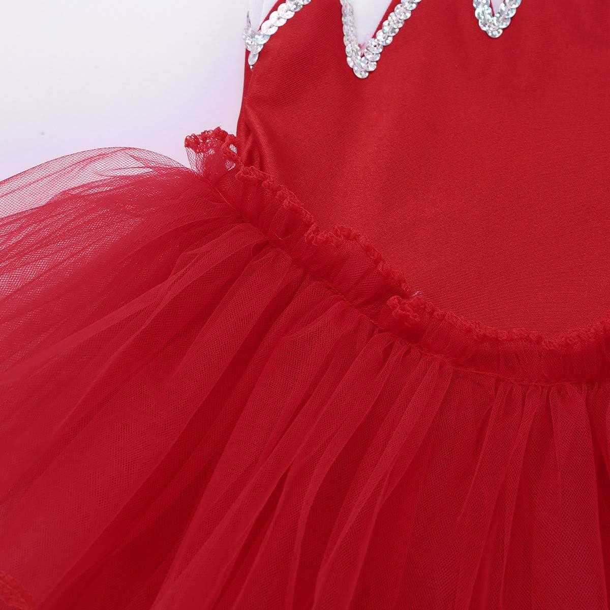 Agoky Kids Girls Halter Sleveeless Sequins Mesh Ballet Tutu Dress Gymnastics Leotard Jumpsuit