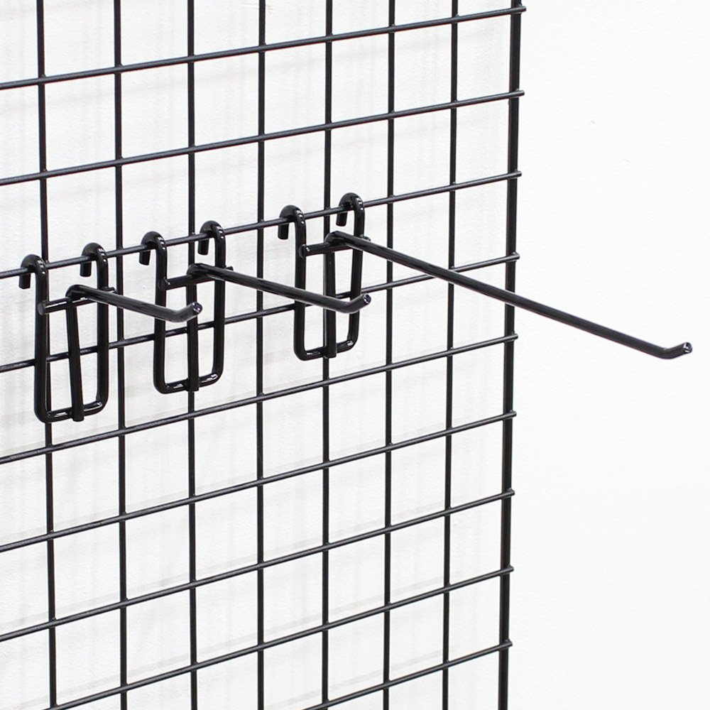 Grid Screen Hooks in Powder Coated Steel with Black 6 Inch - Pack of 10