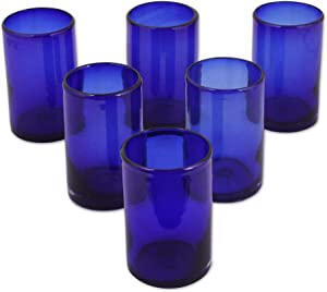 "NOVICA 14315""Solid Blue Drinking Glass, Set of 6, 5"" H x 3.2"" Diam"