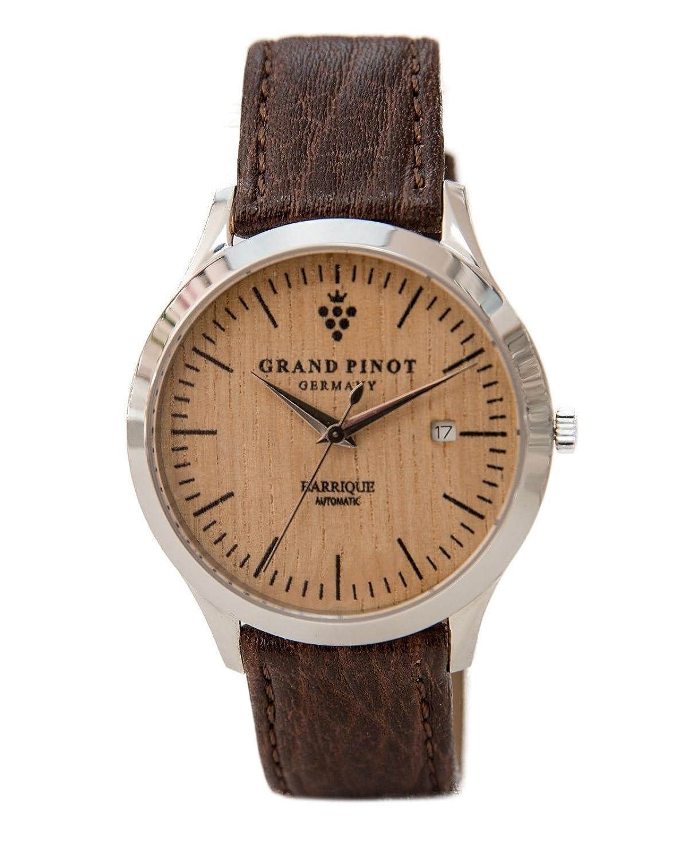 Grand Pinot Herren-Armbanduhr HERITAGE-AUTOMATIC (42 mm) Silber-Barriquefass mit dunkelbraunem Lederarmband (elegante