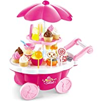 Mumoo Bear 39pcs Plastic Ice Cream Cart Play Food Set Shop Toy with Music and Lights Gift for 3 Years Old Girls