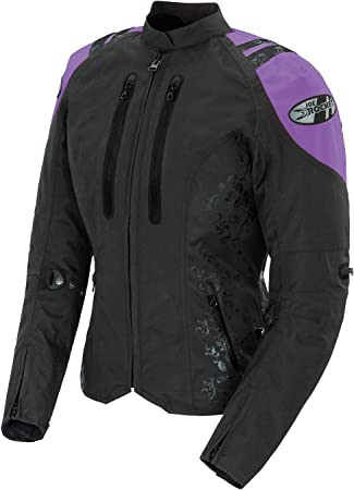 Women Motorcycle Motorbike Scooter Waterproof  Textile Jacket Black//Silver