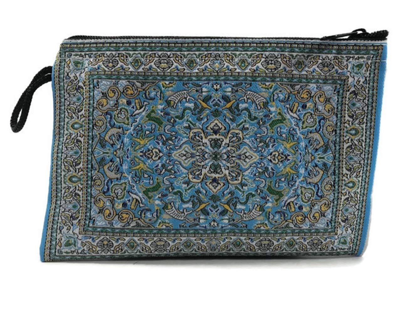 PunPund トルコ財布 ライトブルー 伝統的 アンティークスタイル 織地 様々な模様 小銭入れ ジッパーバッグ   B07MDTWZM2