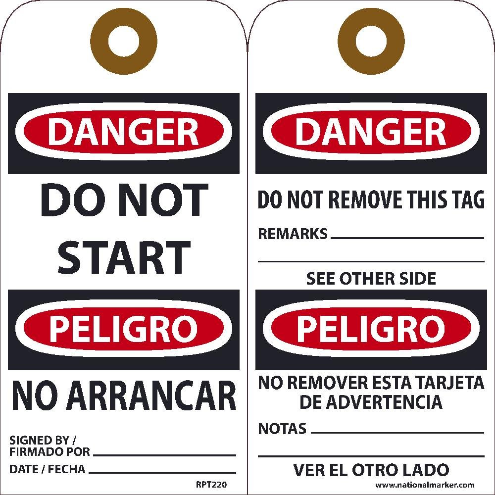 National Marker Tags, Danger, Do Not Start, Bilingual, 25Pk ...
