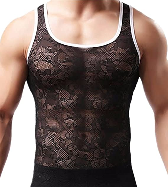 a451d0b4f8973 Olens Men s Lace Mesh Sleeveless Muscle Fitted T-Shirt Undershirt Tank Top  at Amazon Men s Clothing store