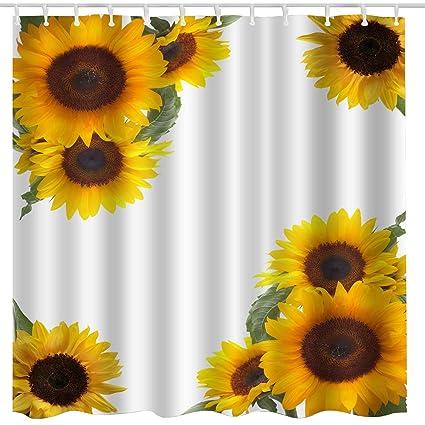 BROSHAN Sunflower Shower Curtain Set Spring Yellow Flower Blossom Art Print Nature Scene Bath