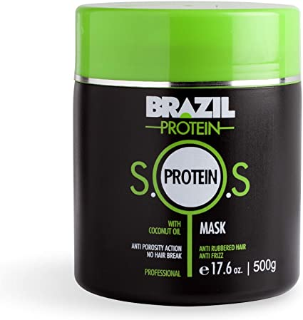 Brazil Protein - SOS Protein - Mascarilla Profesional 500g. - AntiFrizz - Antiporosidad para cabello - Evita que se rompa el cabello - Enriquecido con ...