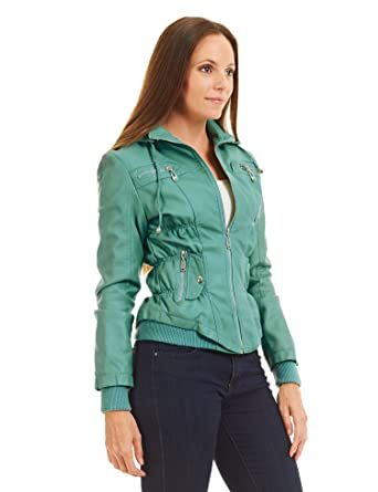 0c50044f3ae Come Together California CTC WJC858 Womens Faux Leather Zip Up Bomber  Jacket With Hood M Turquoise at Amazon Women s Coats Shop