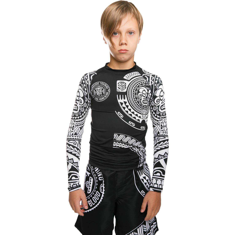 Hardcore Training Kids Rash Guard for Boy Ta Moko Black - Compression Shirt Boy's Fitness Active Boxing BJJ-6 Years