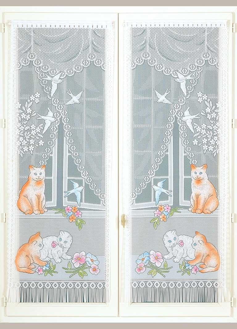 HomeMaison Chats et Hirondelles Paire de Vitrages Frangés, Polyester, Blanc, 160x60 cm HM6930A154A