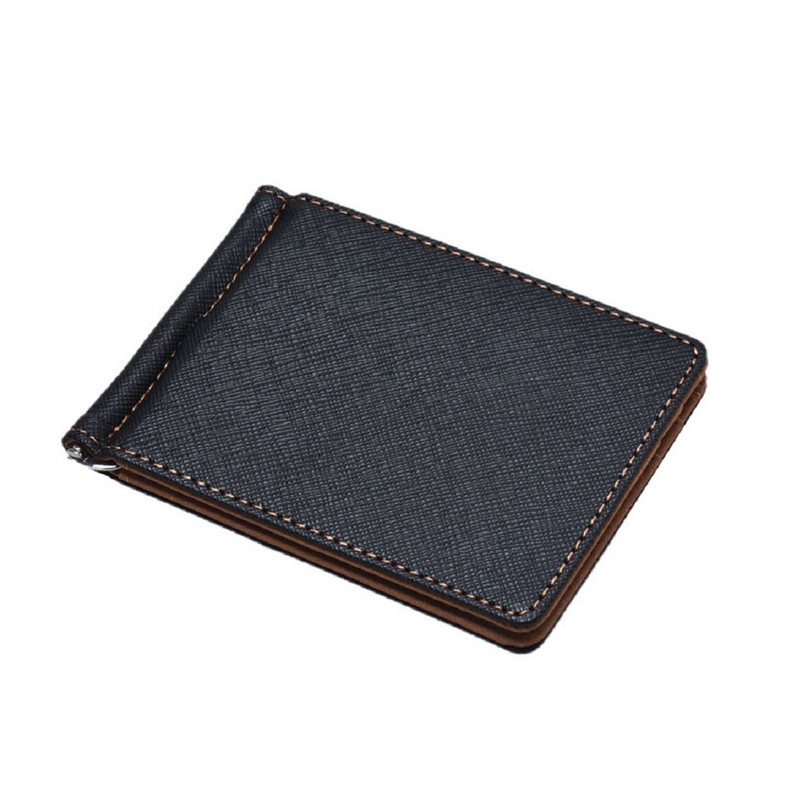 Bessky® ULTRA THIN Mens Leather Silver Money Clip Slim Wallets Black ID Credit Card Holder (Brown)
